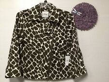 Lady stylish jacket coat size 8 brown beige zip front animal print Chaus new 13