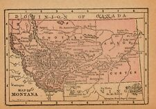1888 Miniature Antique Montana State Map Rare Size Vintage Map of Montana 7932