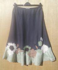 Planet size 10 dark brown & green Linen & Silk skirt with floral applique