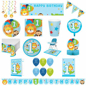 1st Birthday Boys Blue Lion Monkey Tableware Decorations Banner Balloons