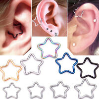 2PCS Cute Steel Star Ring Piercing Hoop Helix Cartilage Tragus Daith Earring