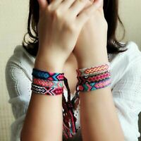 Friendship Handmade Boho Ethnic Woven Braided String Cord Multicolor Bracelet