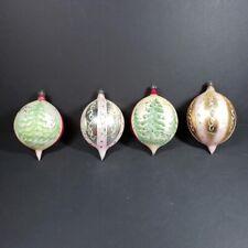 Vintage Mercury Glass Teardrop Glass Christmas Ornaments Large Hand Blown Poland