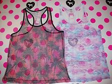 New Victorias Secret PINK Fishnet Mesh Beach Cover Up Tank Top Shirt Palm XS S M