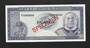 Tonga p-22 , UNC, 10 Pa'anga, 1974- 1989, SPECIMEN !!