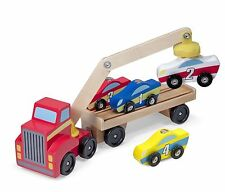 Melissa & Doug Magnetic Car Loader Wooden Toy Set With 4 Cars and 1 Semi Truck