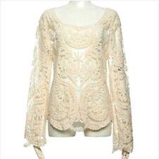 Crochet White Festival Boho Lace Hippy Shirt Top Fashion Blogger Coverup Sheer