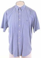 RALPH LAUREN Mens Shirt Short Sleeve XL Blue Check Cotton Blake JQ19
