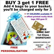 Personalised Hangover Survival Kit pre filled bags hen party, stag wedding