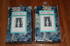 "Waverly SET 2 Ballad Bouquet Indigo Blue Panels Curtains Lined Drapes 84"""