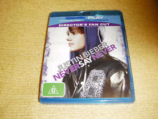 JUSTIN BIEBER NEVER SAY NEVER music 2010 BLU RAY DVD as NEW directors REGION B