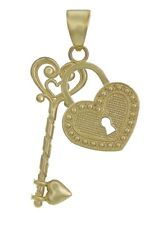 14k Yellow Gold Solid Heart Locket with Key Charm Pendant 1.2g