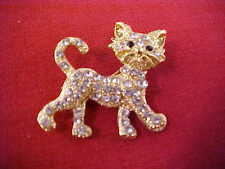 Is Curled Up Gold Tone Rhinestone New Cat Pin Brooch with Black Eyes Tail