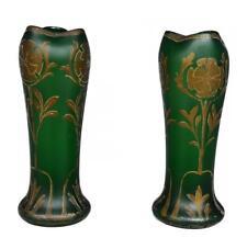 Paire de vase Art nouveau 1900 en verre soufflé et décoré à l'or