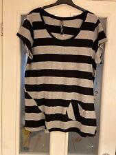 Ladies Clothes Size 18 Evans Black Grey Tshirt Top Striped (25)