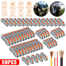 50x Reusable Spring Lever Terminal Block Electric 28 12awg Wire Cable Connectors