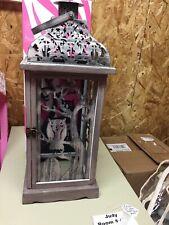 "Pink Zebra Halloween Owl Tombstone Tree Lantern Metal Wood Shade 19"" New In Box"