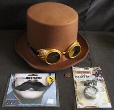 Steampunk Costume Set: Brown Top Hat, Goggles, Metal Pocket Watch & Mustache
