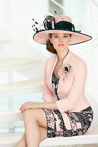 Formal/Wedding/Ascot/Special Occasion Hat Cappelli Condici Pink/Black