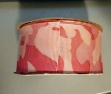 """New listing 3 yds Offray 1 1/2"""" Pink Camouflage Grosgrain Ribbon New"""