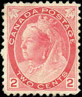 1899 Mint H Canada F-VF Scott #77 2c Queen Victoria Numeral Issue Stamp