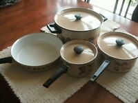 VINTAGE Set of CERA-MET ENAMEL COOKWARE BEIGE/FALL RETRO FAST HEAT WITH LIDS