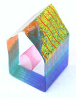 Vintage PAPERWEIGHT Desk Bright Collectible Vintage Heavy Clear GLASS HOUSE Art