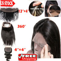 8A 13x4 Peruvian Straight Lace Frontal Closure Virgin Human Hair Ear To Ear R50