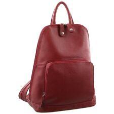 Milleni Women's Twin Zip Backpack Nappa Italian Leather Bag Travel - Red