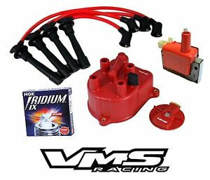 VMS DISTRIBUTOR CAP ROTOR WIRES COIL NGK SPARK PLUGS FOR 92-00 HONDA CIVIC D16