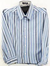 Crazy Horse by Claiborne Mens LS Button Up Dress Shirt Blue Stripe 16.5 32/33