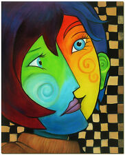 """Pablo Picasso Art -  Hand Painted Cubist Woman Oil Painting On Canvas 20x24"""""""