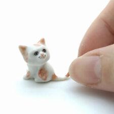 CCK027 Cat Kitten Ceramic Figurine Animal Miniature Folded Ear White /& Black