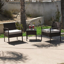 3 Pcs Brown Rattan Wicker Chair +Table Patio Outdoor Garden Furniture Cushioned