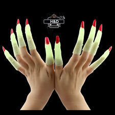 10 Glow in the Dark Witch Finger Nail Halloween Prop Fancy Dress Cosplay Costume