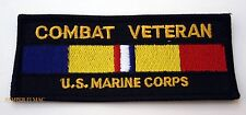 COMBAT VETERAN US MARINES CORPS PATCH EMB SERVICE RIBBON MILITARY BIKER PATCH