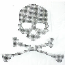 Real Skull Silver Rhinestone Iron on Transfer Hot fix
