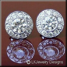 2.30 CT MOISSANITE ROUND FOREVER ONE GHI HALO PAVE VINTAGE EARRINGS NEW