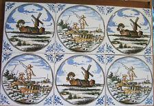 Six Dutch Tiles Windmills Boys Fishing Polychrome 5 1/4