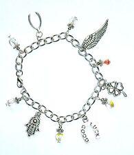 GOOD LUCK & BEST WISHES - charm bracelet with hamsa hand lucky clover & wishbone