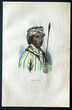 1845 Dally Antique Print of a King of Southern Malaya Peninsular, Singapore