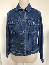 EDDIE BAUER WOMEN Sz Petite Small DENIM JEAN JACKET TRUCKER BIKER 100% COTTON