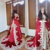 Elegant Muslim Applique Long Sleeve Wedding Dresses Crystal A-Line Bridal Gowns