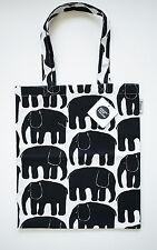 Finlayson Elefantti tote bag, black and white, 36x42 cm, 100% cotton