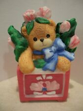 Vintage Lucy & Me Enesco Bear in Flower Box Blue Bow Spring Lucy Rigg 1984 Euc