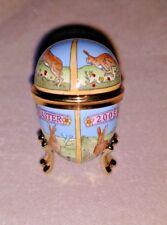 Halcyon Days Egg Shaped Trinket Box Easter 2005 enamel bunni 00004000 es rabbit w stand