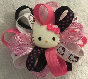"Girls Hair Bow 3 1/2"" Wide Flower Hello Kitty Pink/Black/White Alligator Clip"