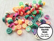 50 x Random Mix 10mm Polymer Clay Flat Fruit Beads Bead Craft Charms