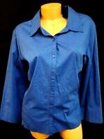 Croft & barrow blue elbow sleeves spandex stretch plus buttoned down top 3X
