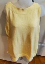 Jeanne Pierre Cotton Knit Slit Neck Sweater Large